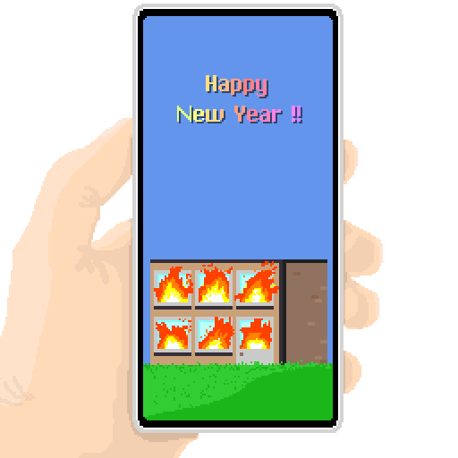 "A pixel-art style illustration of a hand holding a cell phone. The screen displays a burning building with a cheerful ""Happy New Year!"" superimposed over the smoke and flames."